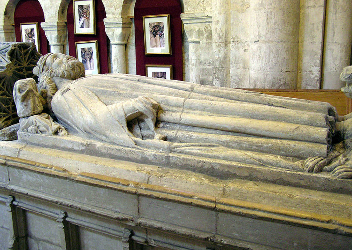 The tomb of England's first king, Aethelstan, at Malmesbury Abbey