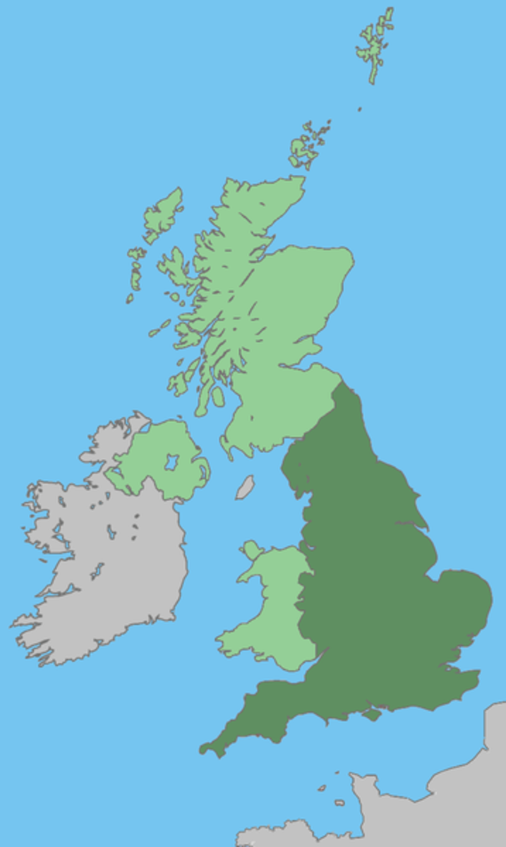 The United Kingdom shown green, England is the darker green area.
