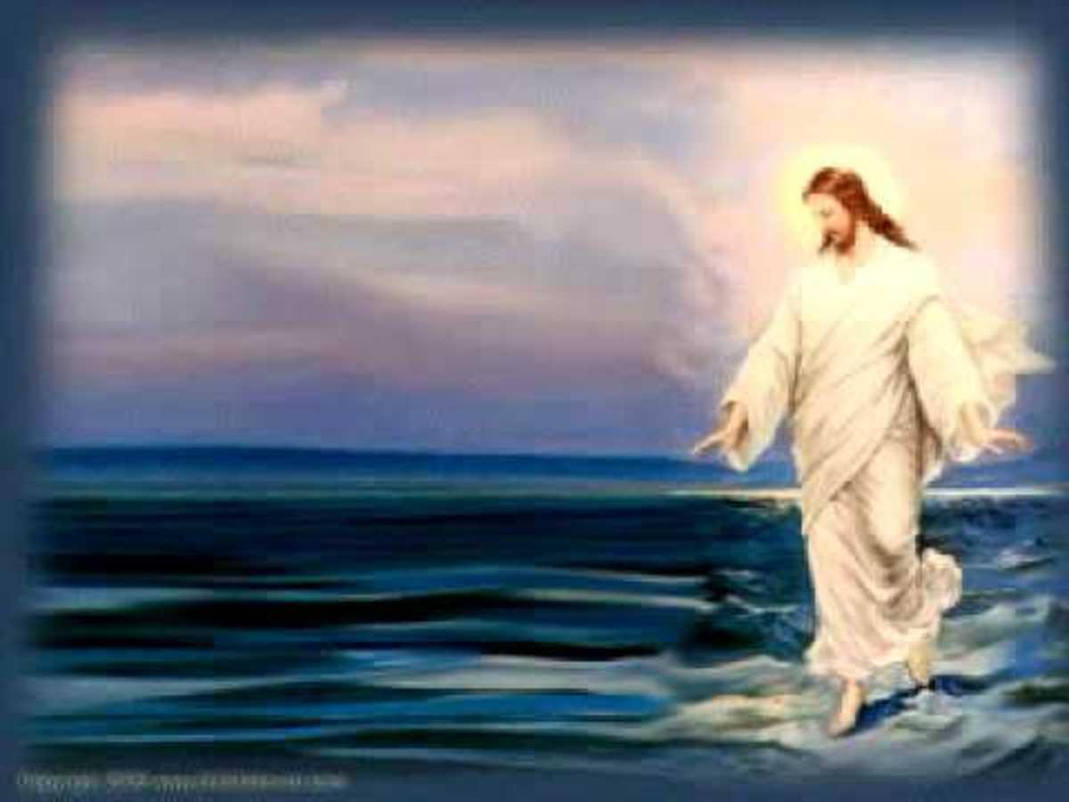Jesus walking on the water.