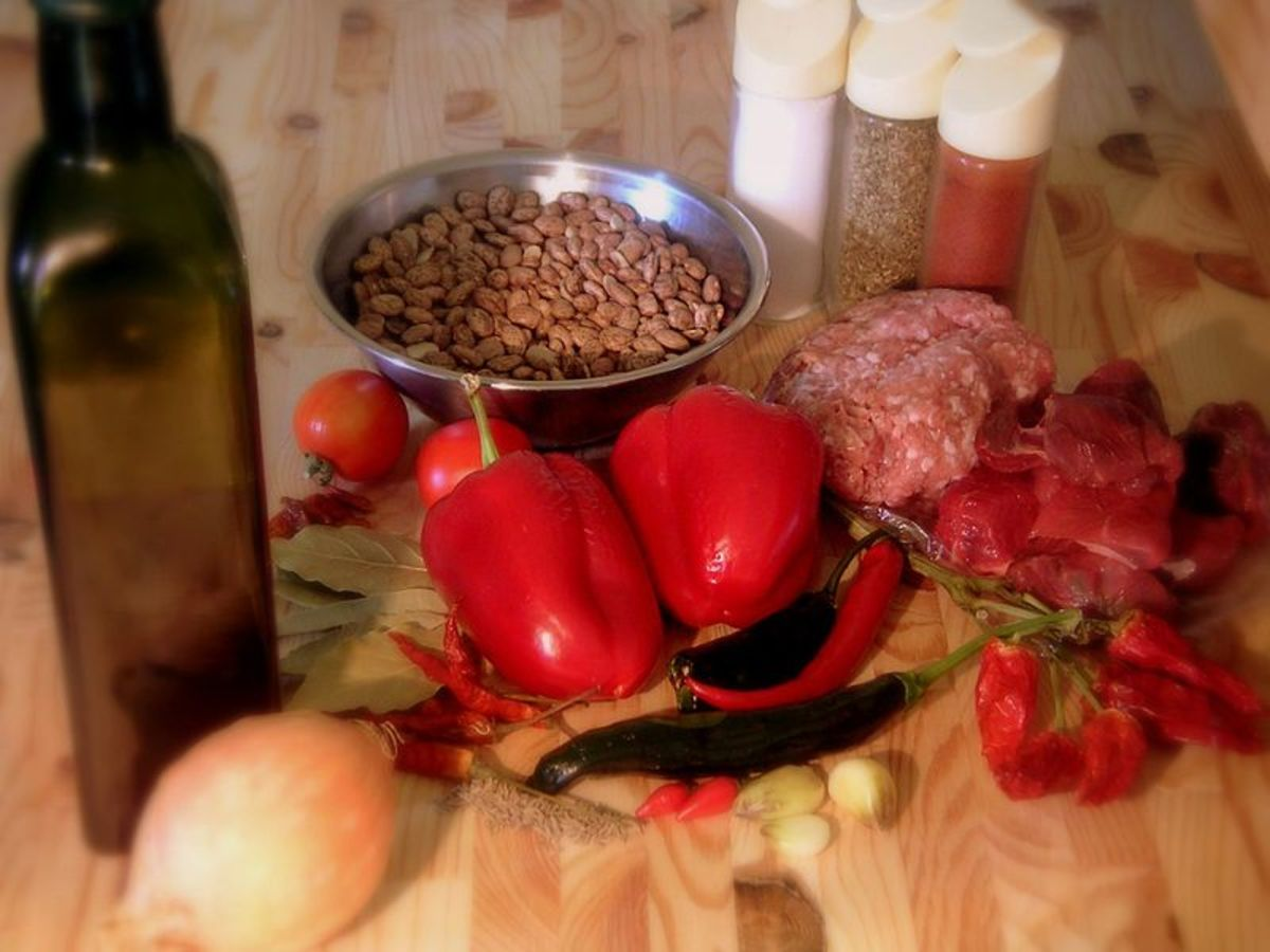 In the photo you can see the most common ingredients in Chili Con Carne
