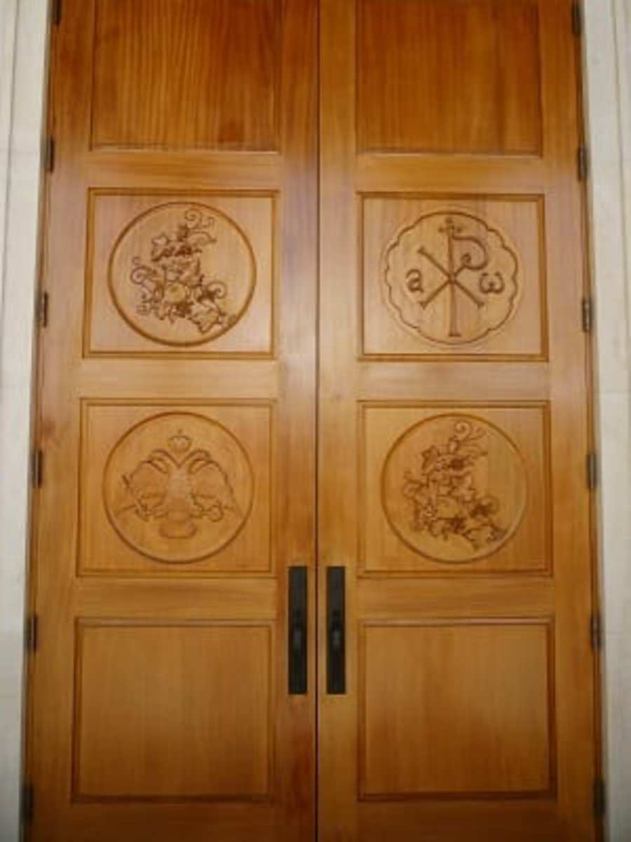 Carved doors at St. Basil the Great Greek Orthodox Church