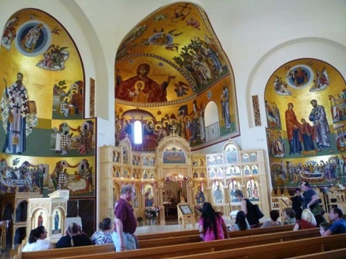 Inside St. Basil the Great Greek Orthodox Church for a tour