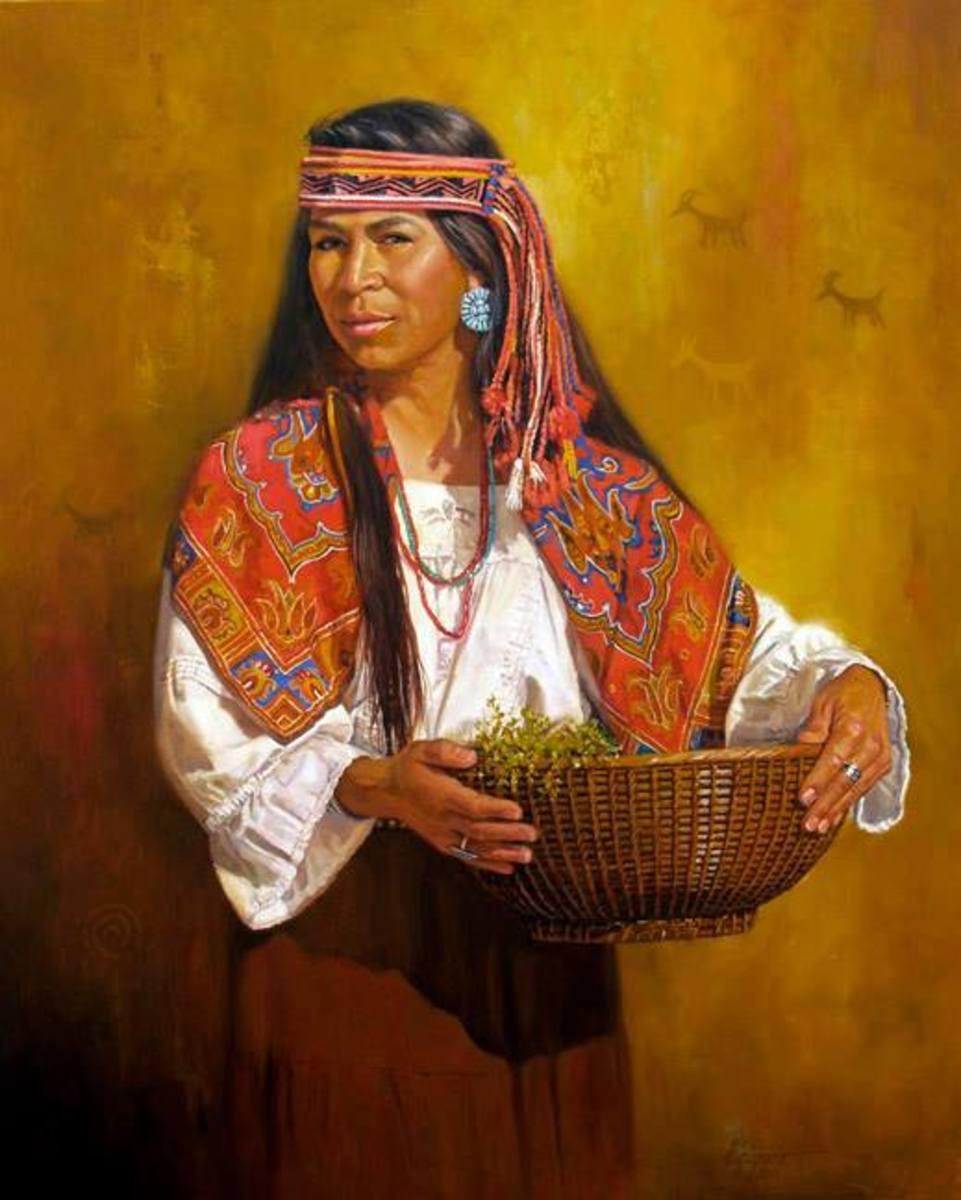 Indian art woman holding basket- V. Catapano