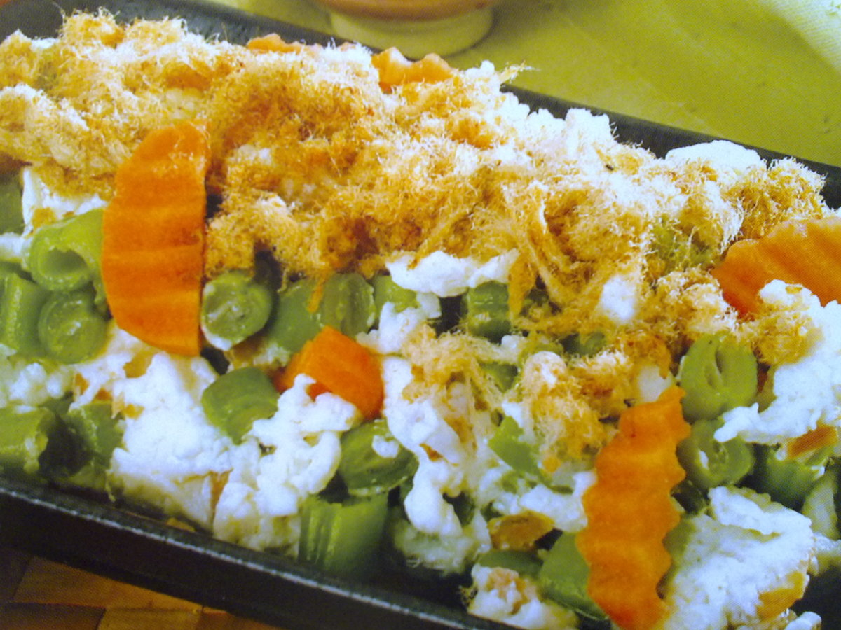 French Beans Fried Rice that goes well with chicken floss
