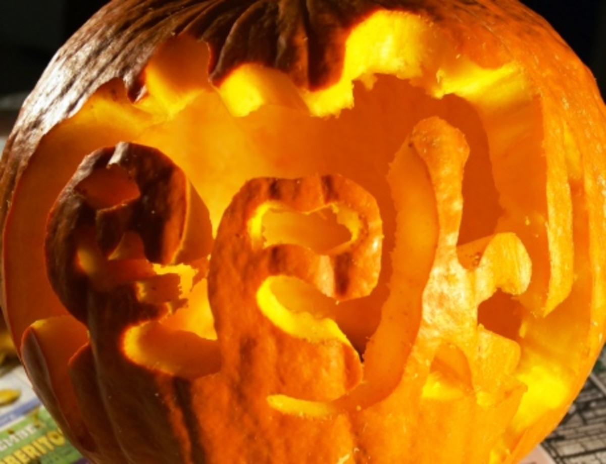 """Finished!  Now, I need to """"clean up"""" the edges toward the inside of the pumpkin."""