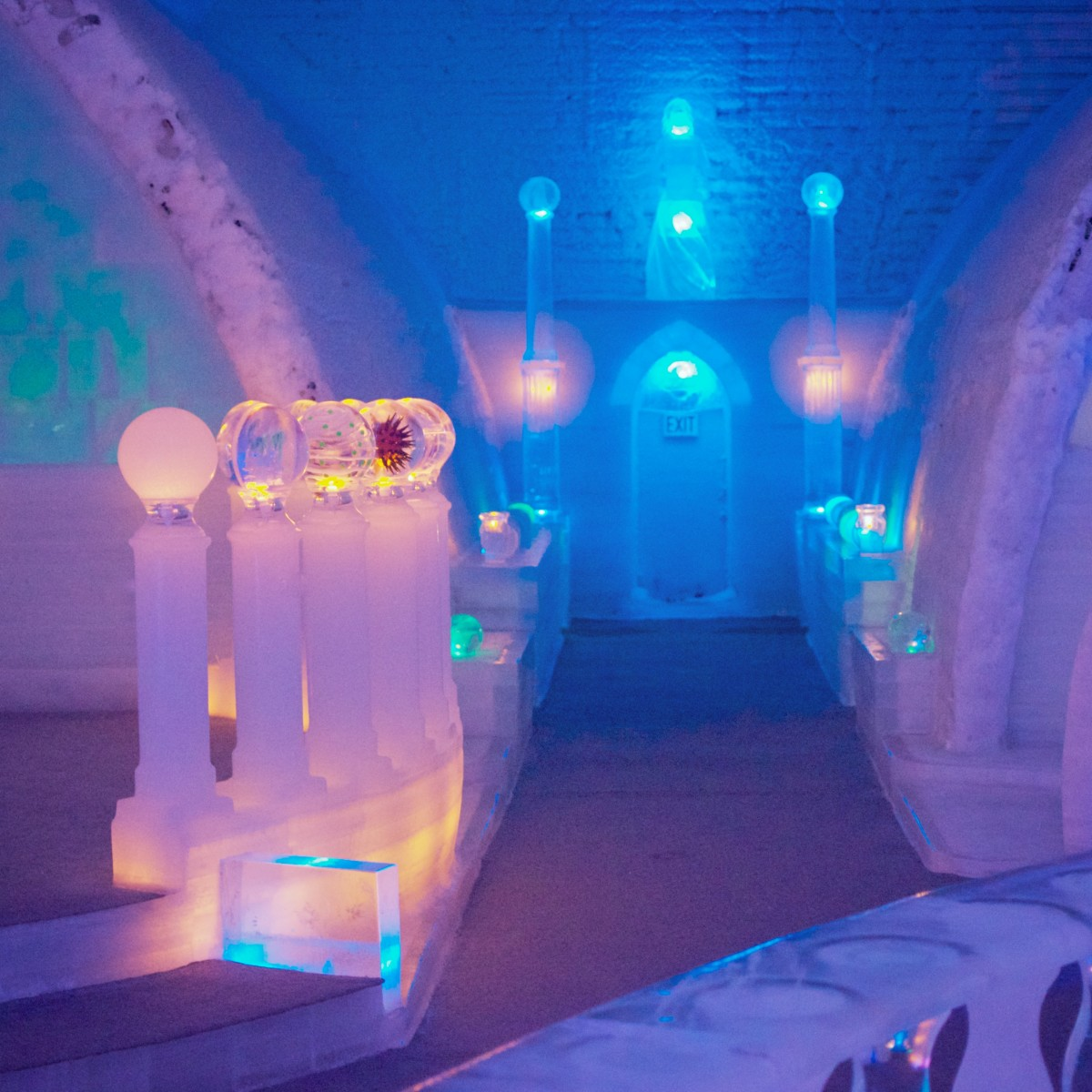 The Aurora Ice Hotel in Alaska is known for its jaw-dropping ice carvings.