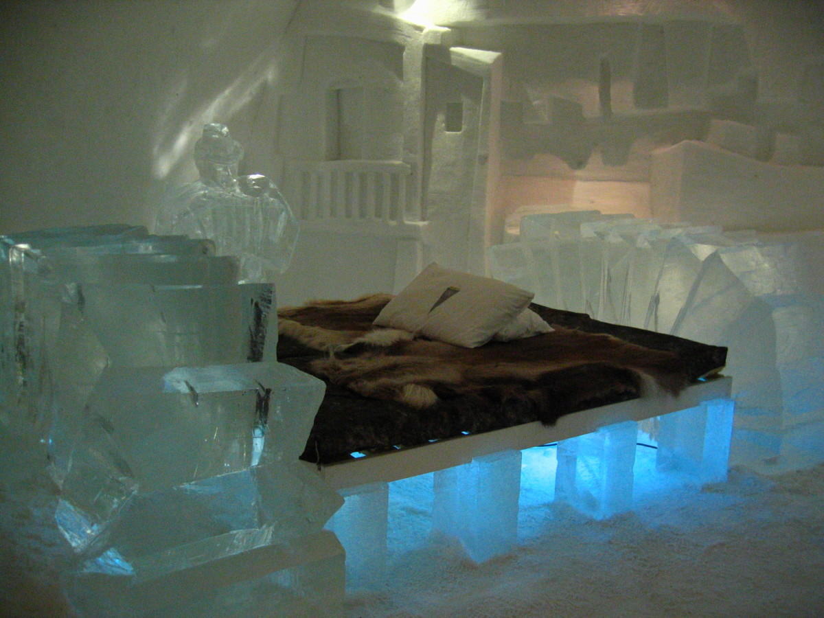 Lots of layers will help you sleep warm at night at the Jukkasjarvi Ice Hotel in Sweden.