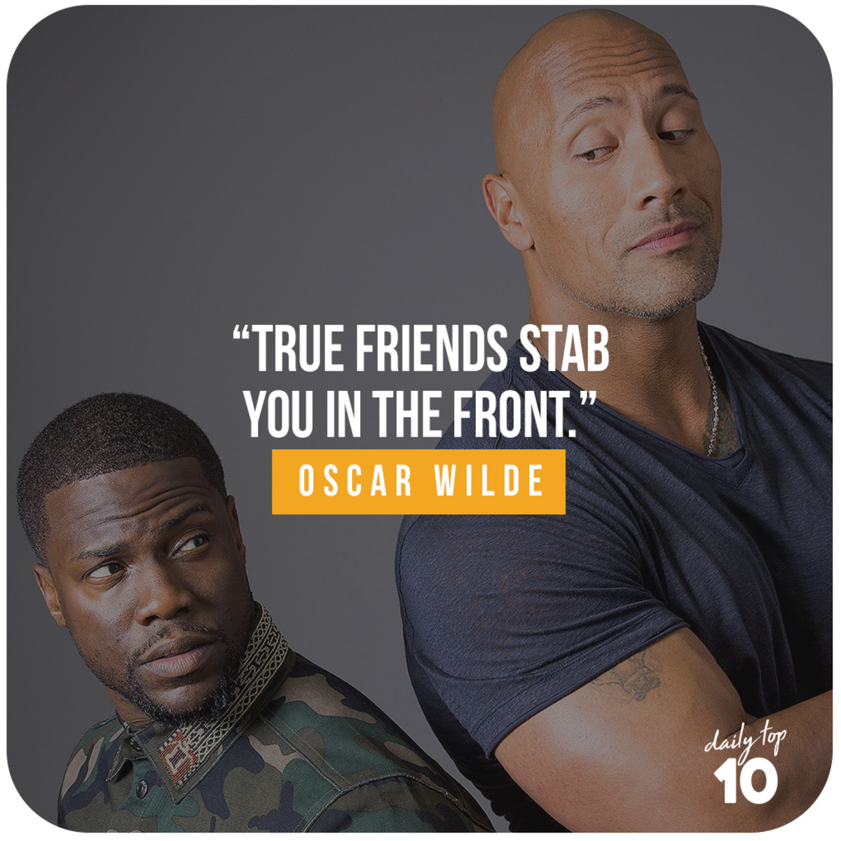 Friendship quote with Dwayne Johnson and Kevin Hart