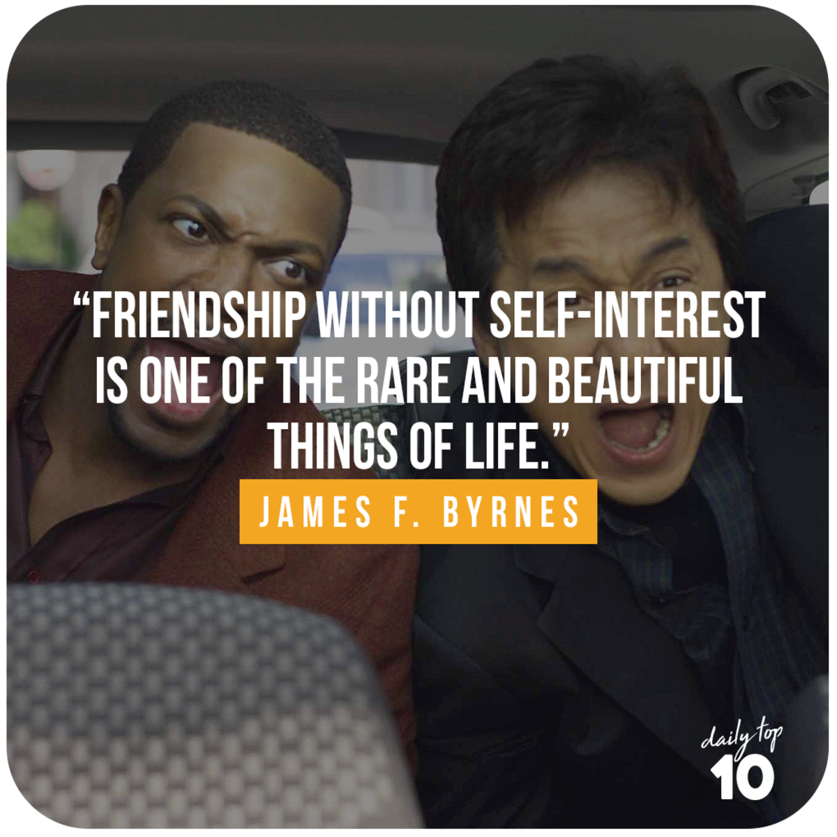 Friendship quote with Jackie Chan and Chris Tucker.