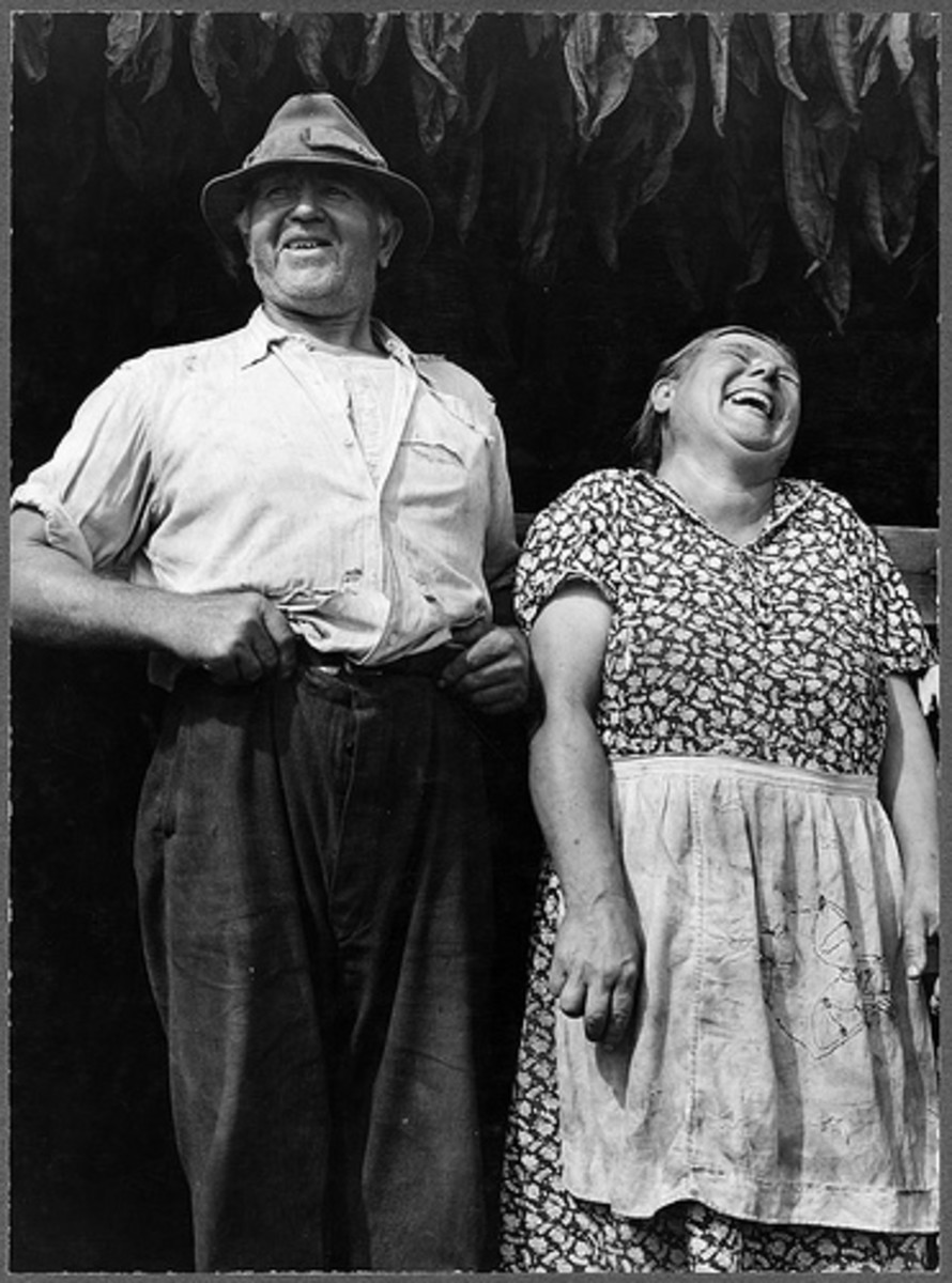 This couple were farmers in Connecticut. In long and happy marriages, couples usually laugh together.