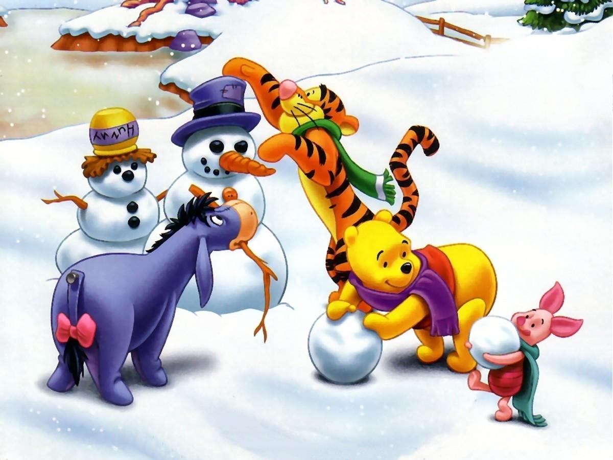 winnie the pooh making snowman