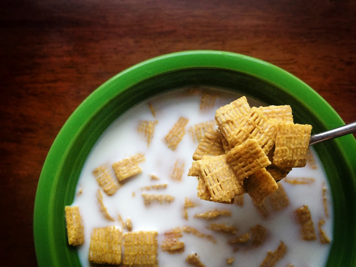 bowl of cold breakfast cereal with milk