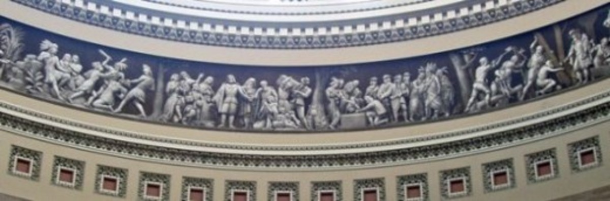 """Photo from my visit in 2008  Considering this work of art is 58 feet above the ground my photo can not truly capture the artwork. Below are the individual sections from """"Architect of the Capitol""""."""