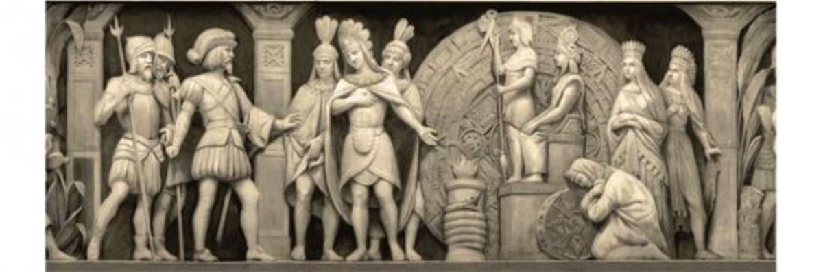 """3. """"Cortez and Montezuma at Mexican Temple"""" (1520) Constantino Brumidi 1878-1880"""