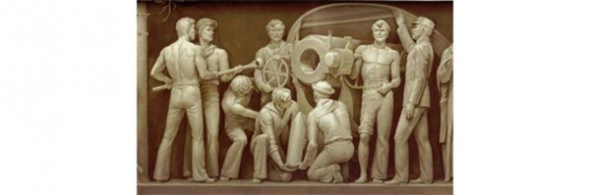 """18. """"Naval Gun Crew in the Spanish-American War"""" (1898) Allyn Cox 1951-1953 Architect of the Capitol"""