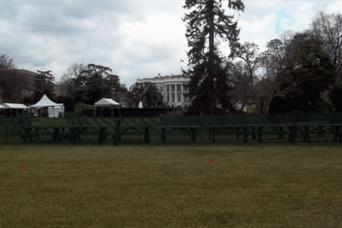 The lawn was set up for the Easter Egg Roll.