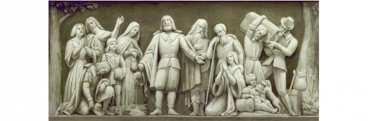 "7. ""Landing of the Pilgrims"" (1620) Constantino Brumidi 1878-1880 Architect of the Capitol"