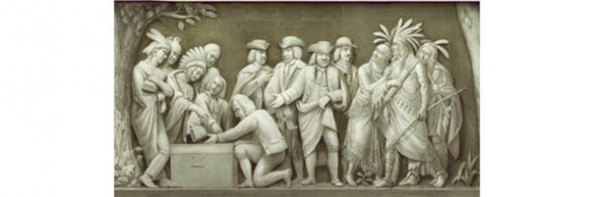 """8. """"William Penn and the Indians"""" (1682) Constantino Brumidi and Filippo Costaggini"""