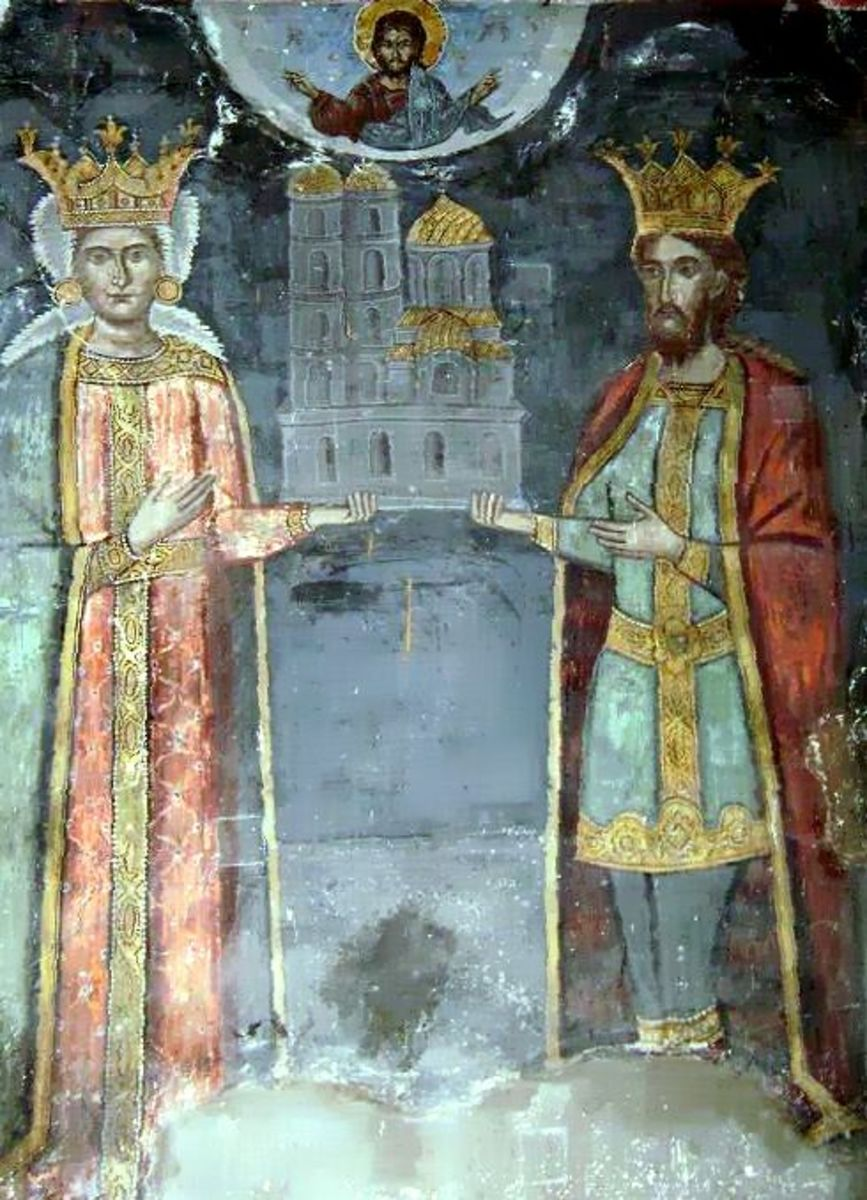 Radu I and Lady Ana in a mural representation on the walls of Curtea de Arges Cathedral.