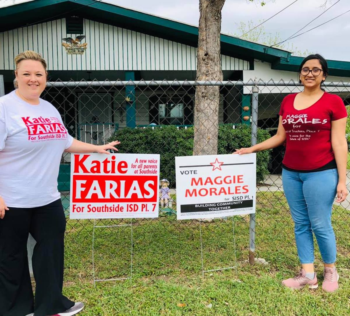 Katie Farias and Maggie Morales, putting out their signs. Southside ISD school board candidates for 2019.