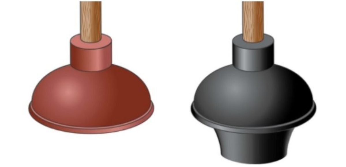 Left plunger is for a clogged sink. Right plunger is for a clogged toilet.