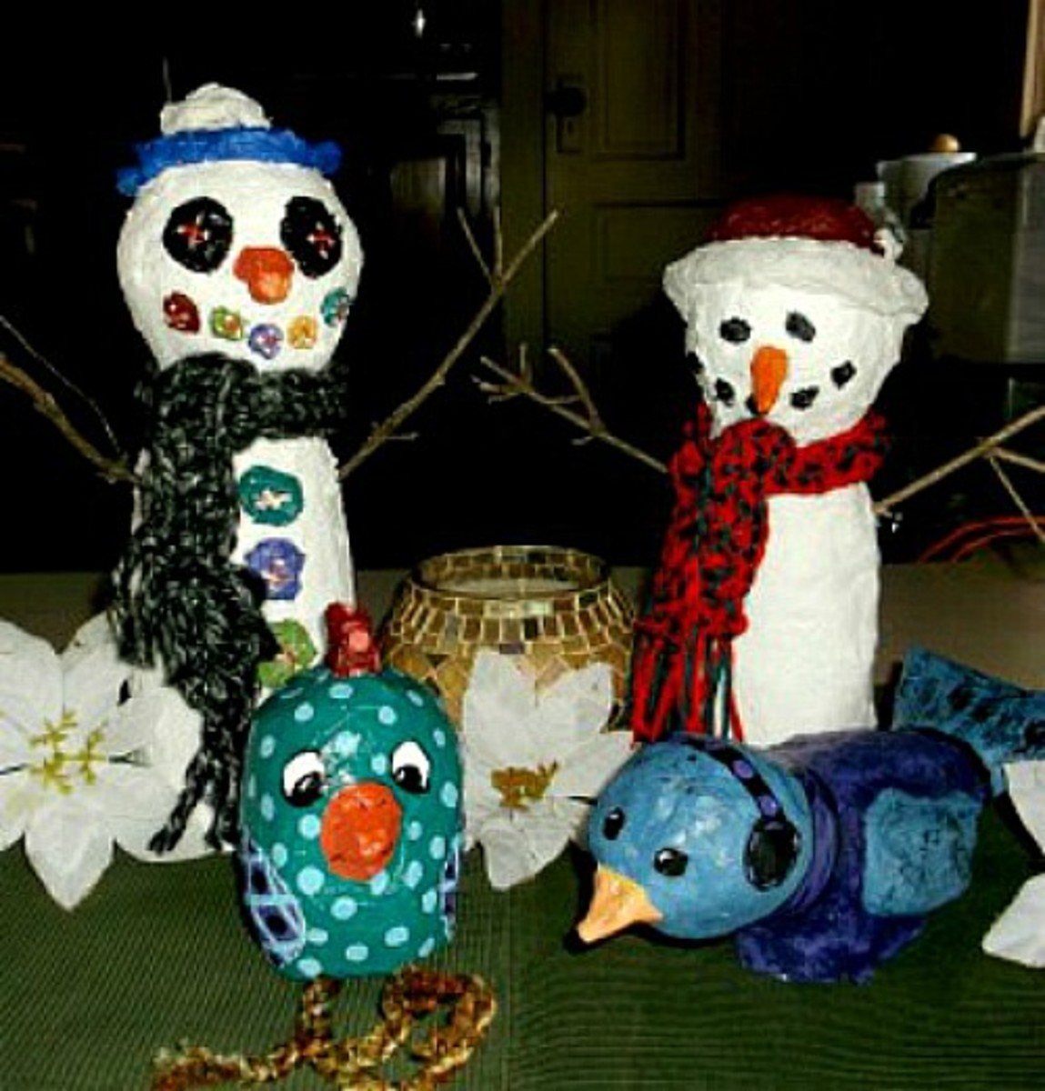 Paper Mache Clay Snowmen, Bird and Chick | HubPages