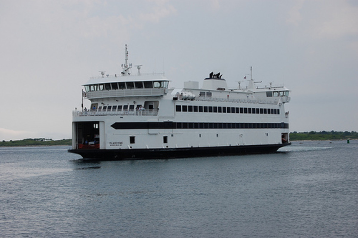 Steam Ship Authority Ferry about to dock in Vineyard Haven