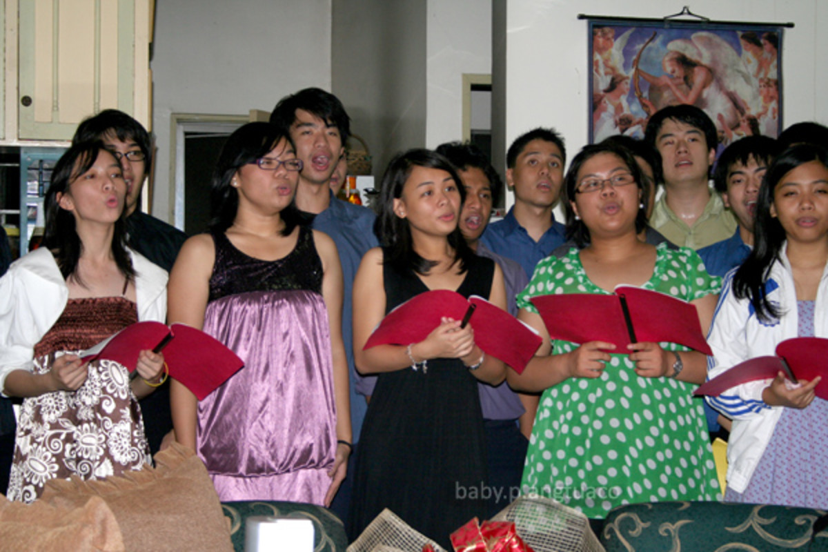 my daughter's group as they caroled at home