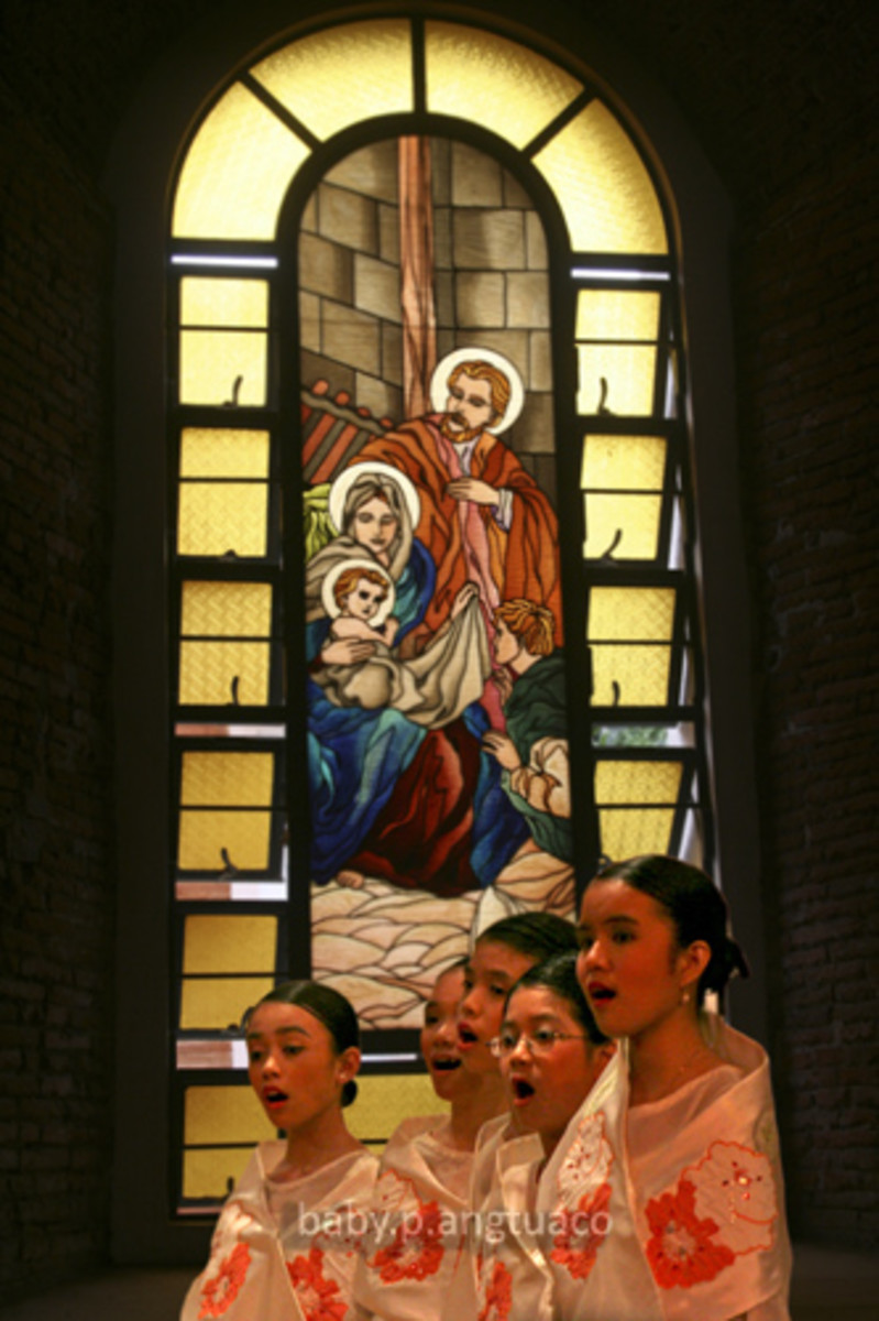 caroling inside a church