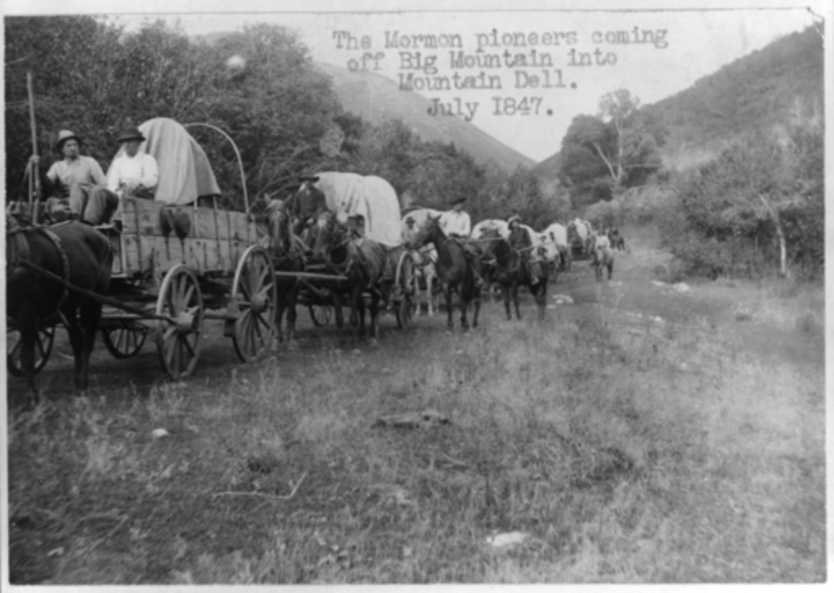 The Mormon pioneers coming off Big Mountain into Mountain dell