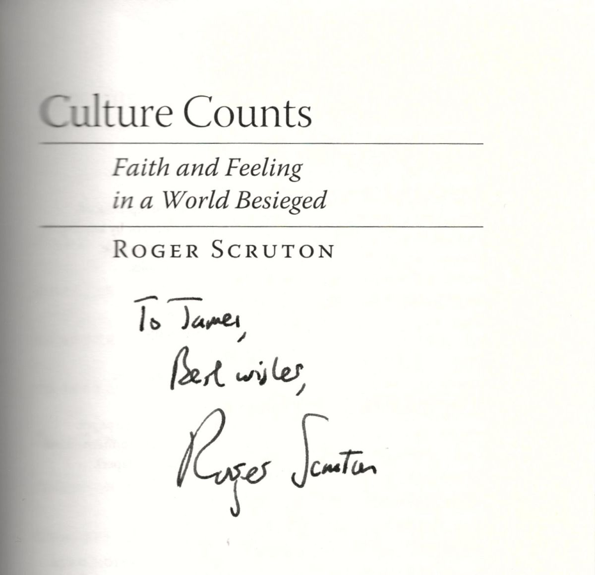 My signed copy of a Roger Scruton book