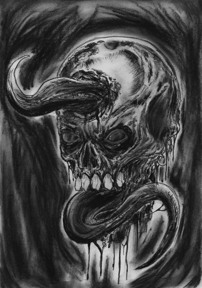 Charcoal pencil skull art by Wayne Tully