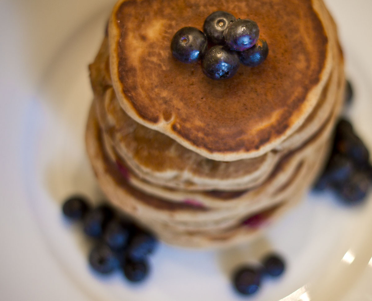 Fresh blueberries make pancakes healthier and tastier.