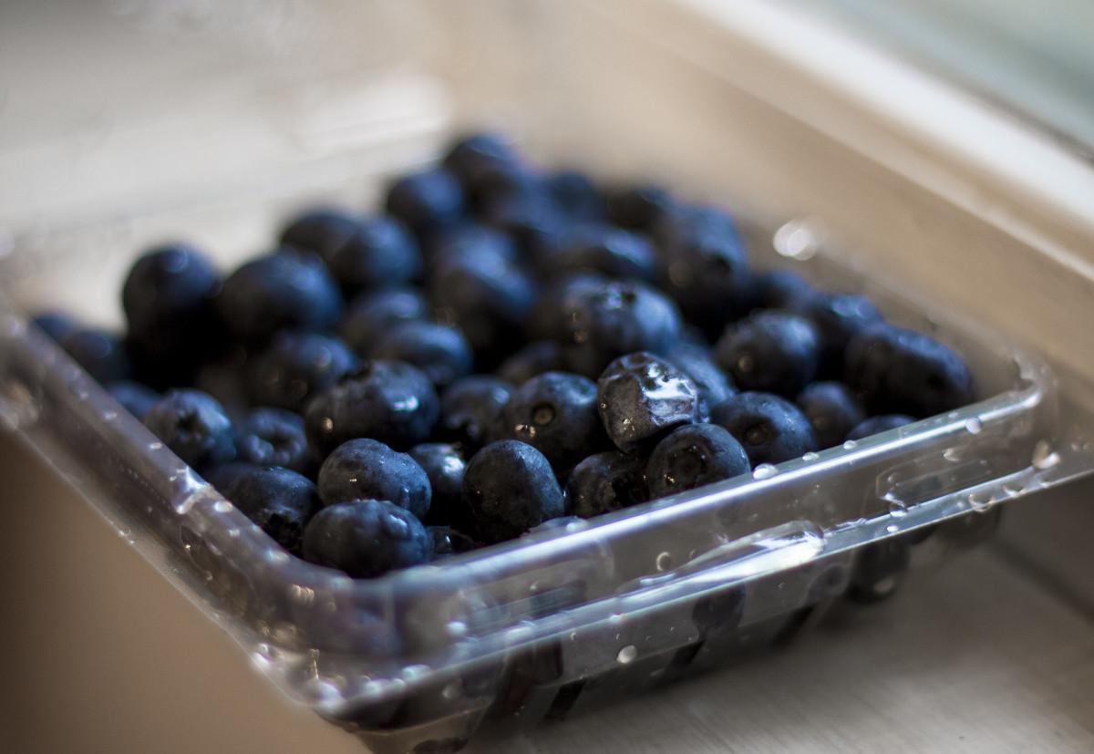 Freshly washed blueberries.