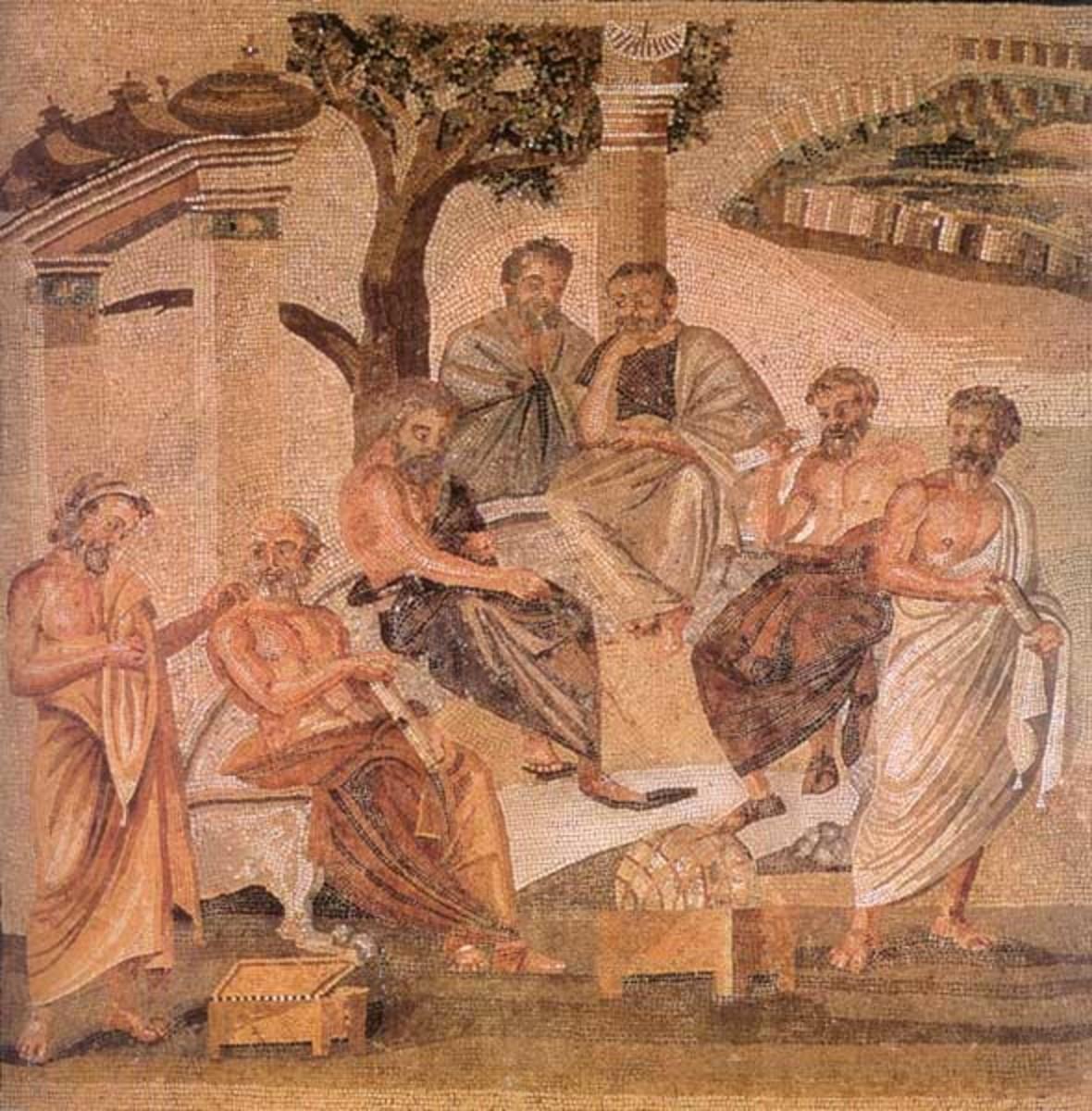 A Roman mosaic showing Plato's Academy