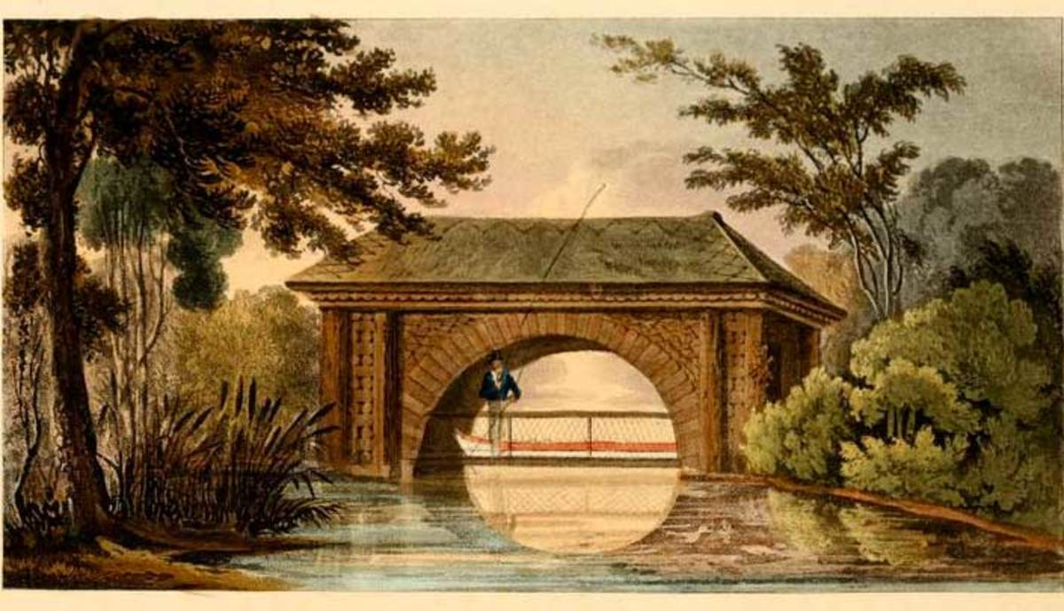 Bridge and Boat House (Plate 7) combination. Very serene looking.