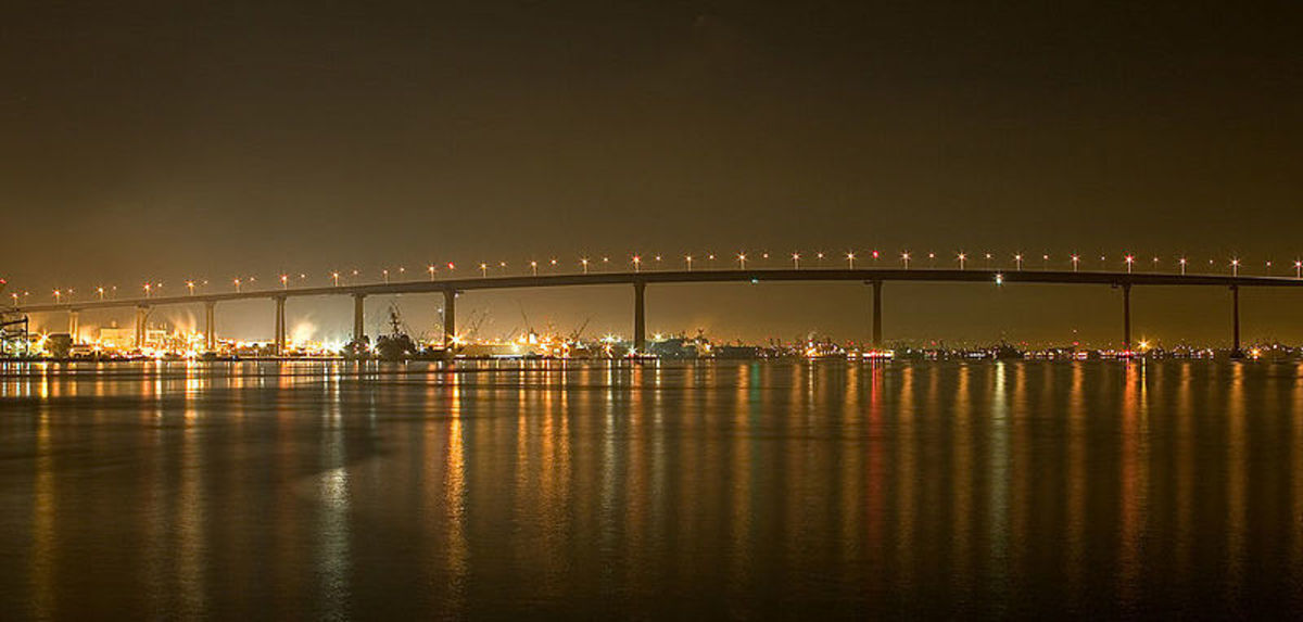 Coronado Bay Bridge at Dusk