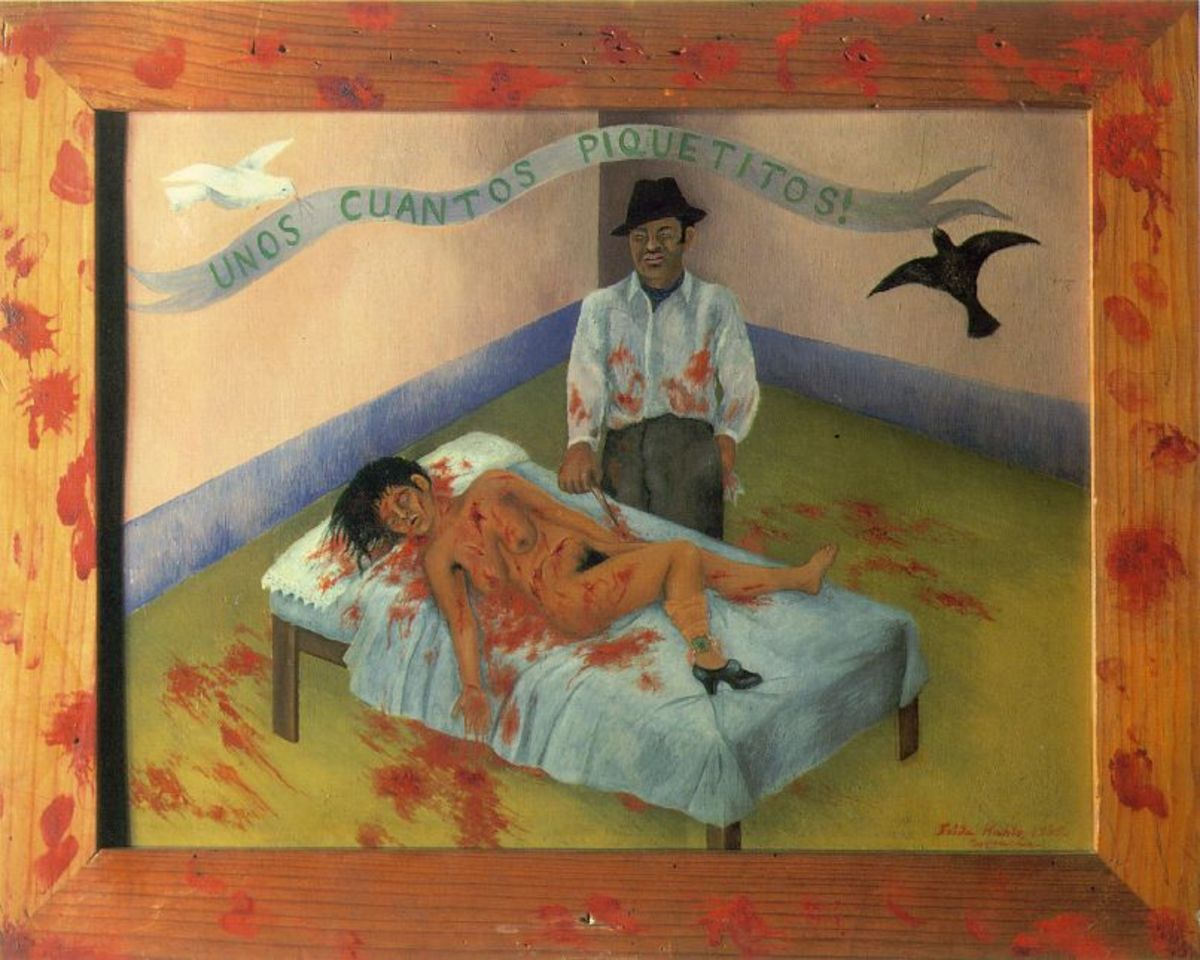 "Frida Kahlo "" A Few Small Nips"" Oil on Metal 1935"
