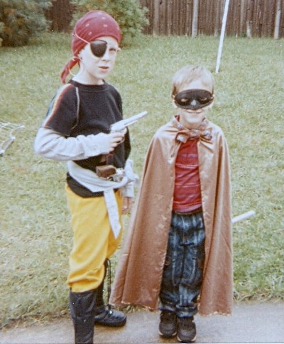 Pirate and superhero Halloween costumes are easy last-minute ideas.