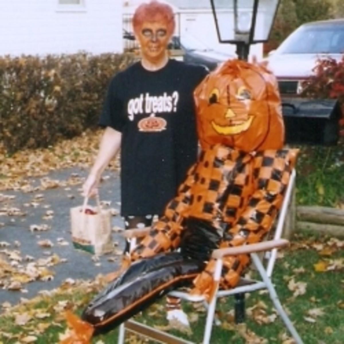 T-shirt, pajama pants, hair color make an easy, last-minute Halloween costume.