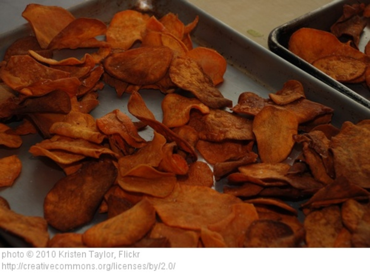 Healthy sweet potato chips.  Wash potato, slice and bake in hot oven until crispy. I spray a little virgin olive oil over sliced potatoes before baking along with just a wee bit of kosher sea salt.