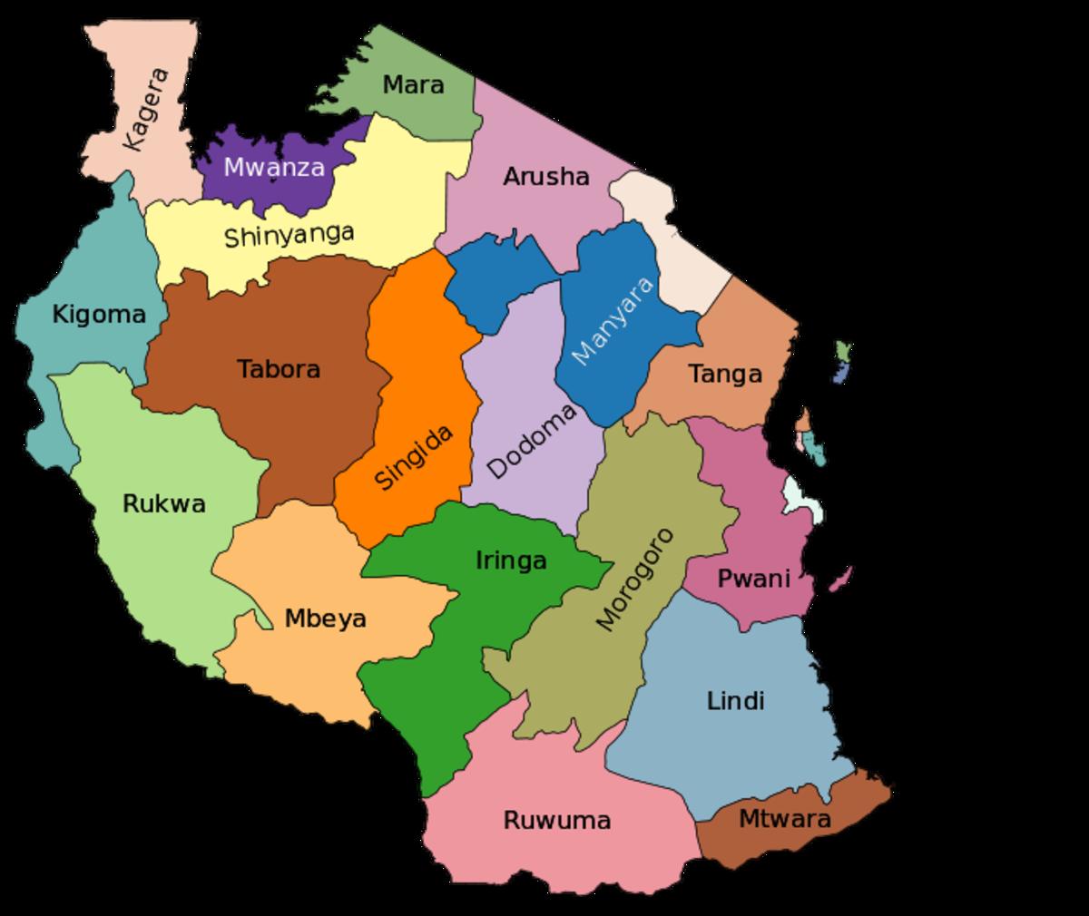 Credit to Wikipedia: Tanzania regions