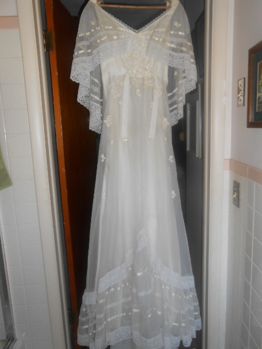 Vintage Wedding Dress bought at Thrift Store for $35