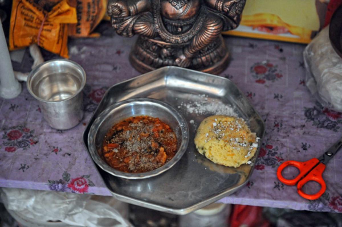 Vibhuti in the Rava Idly