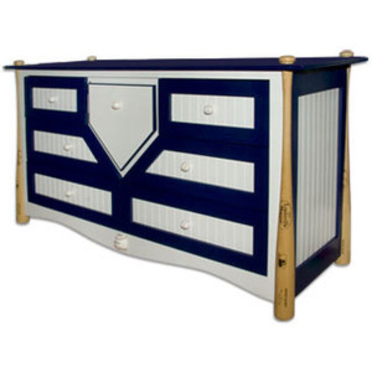 hand painted blue and white dresser with baseball bat decorations