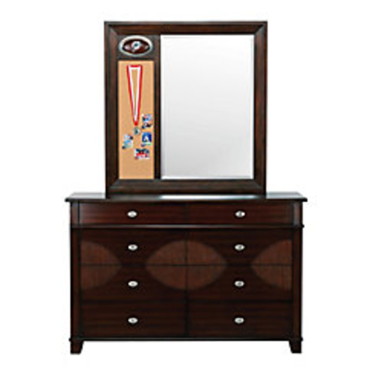 football themed dresser and matching mirror in dark classic wood with football team logo