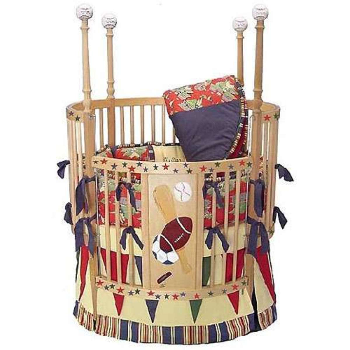 round crib decked out in various sport themes - football baseball topped spindles and more