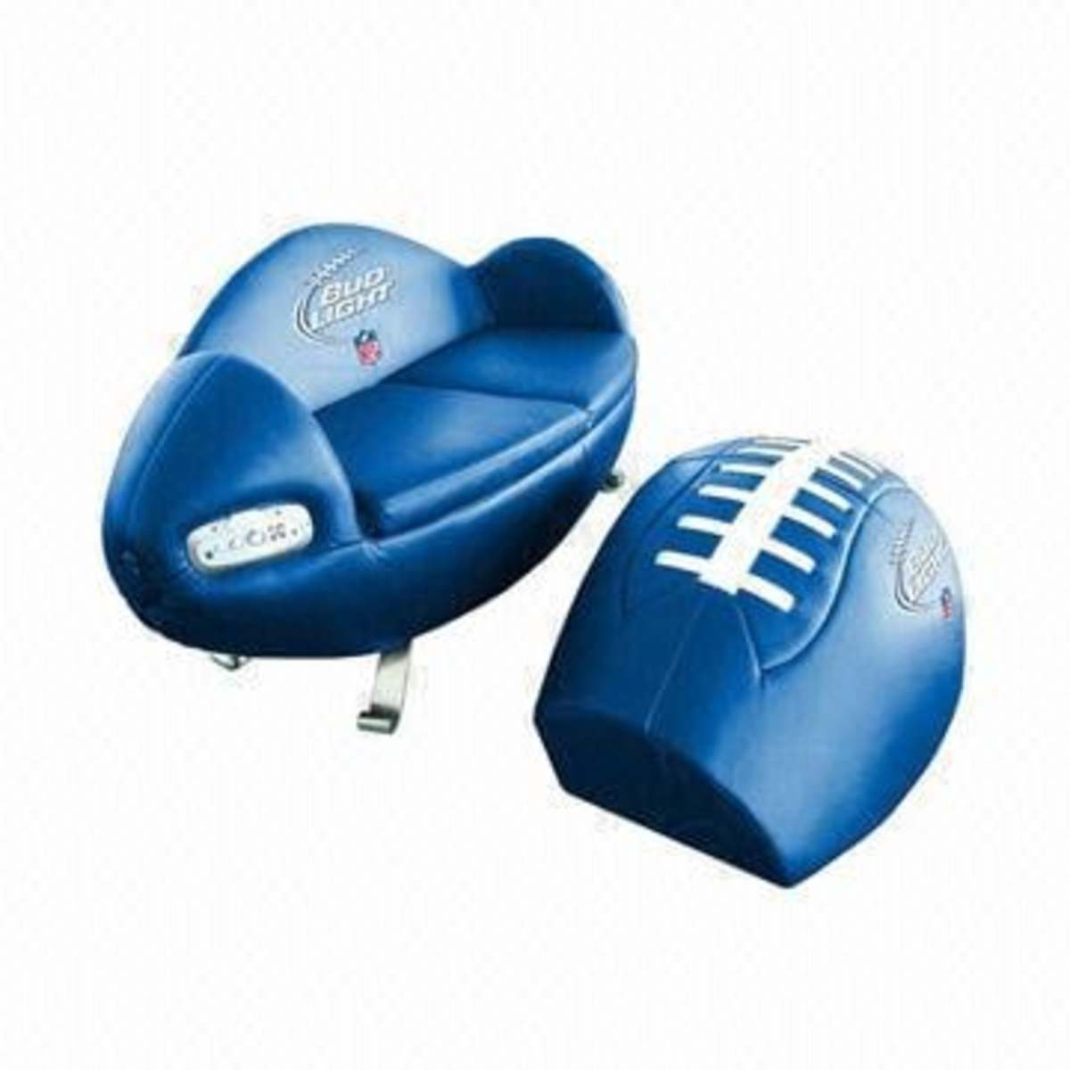 Football Fan Couch with Speakers and Matching Foot Stool in blue Super Bowl 47 co-branded with Bud Light