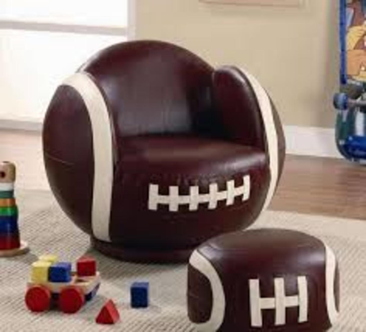 Football Chair and Matching Foot Stool in classic American Football brown leather with white stitching