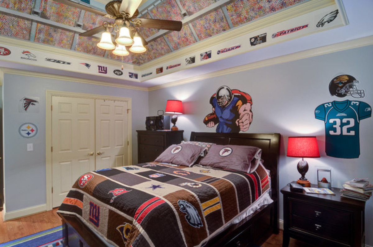 Fun Football Designed Bedroom with football ceiling and more